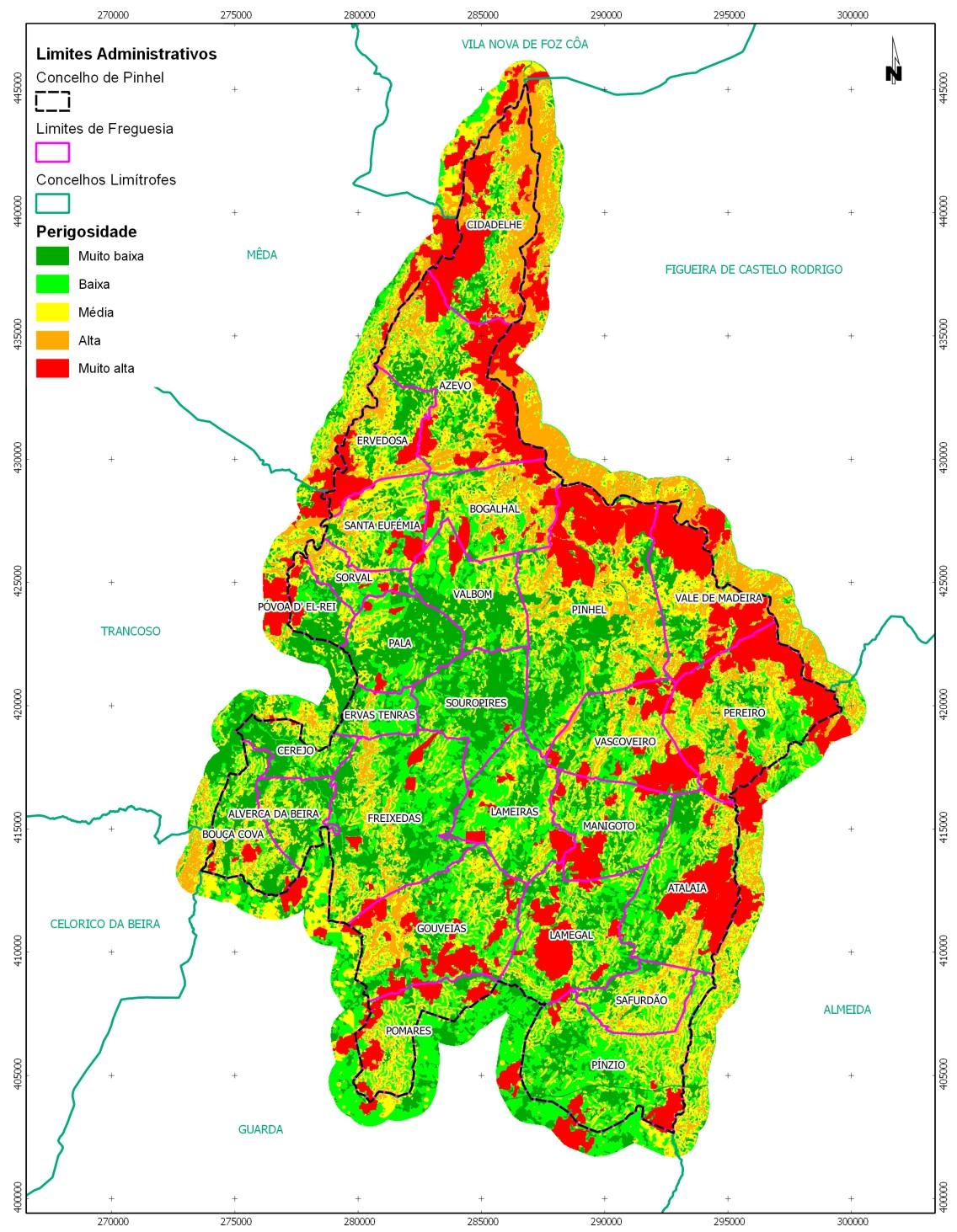 mapa de pinhel QGIS i el mapa de risc d'incendis forestals a Portugal mapa de pinhel
