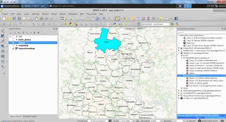 Using QGIS for FTTH/GPON network planning due to the